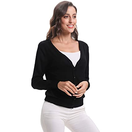 Luxspire Womens Long Sleeve Sweater, V-Neck Short Style Open Front Button Down Soft Basic Knitwear Cardigan for Girls Ladies: Amazon.es: Deportes y aire ...