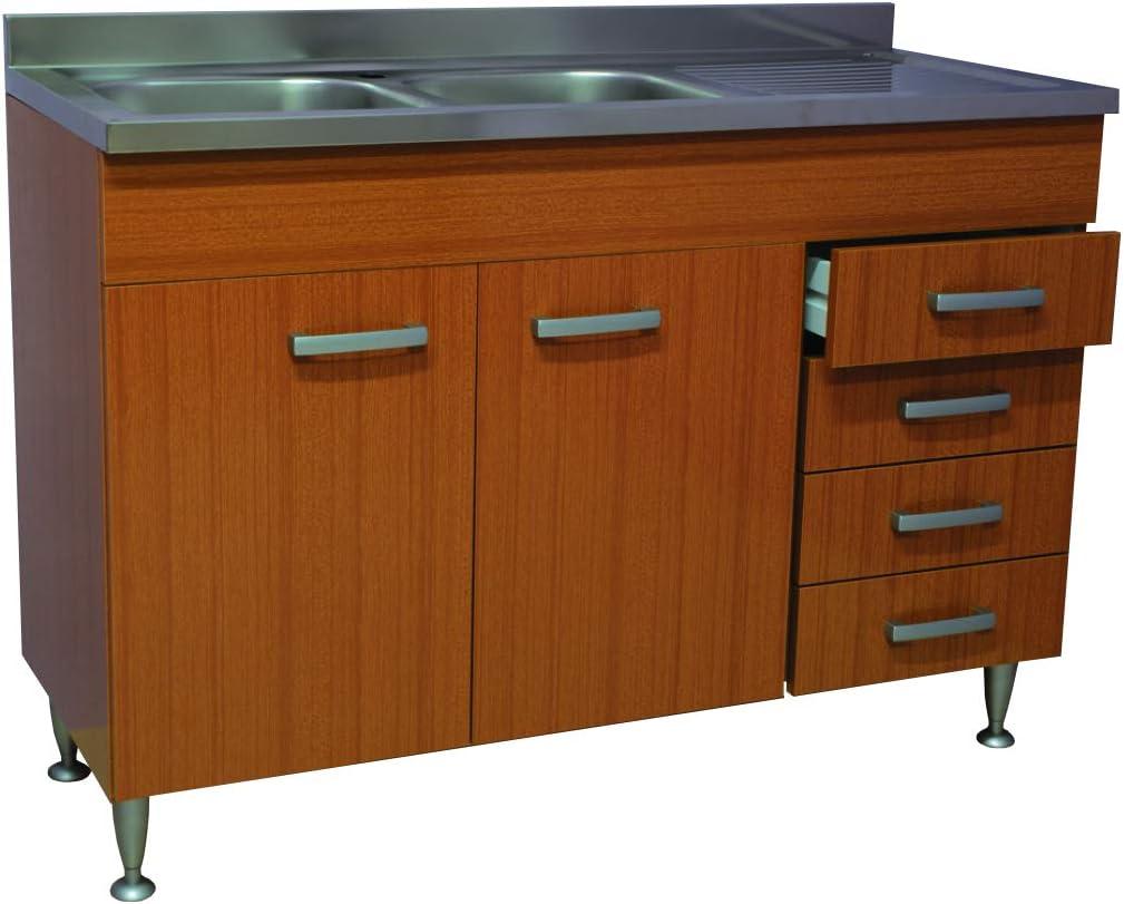 Meuble de cuisine en teck 14 portes + tiroirs avec évier en acier inoxydable  1140 cm, sous évier