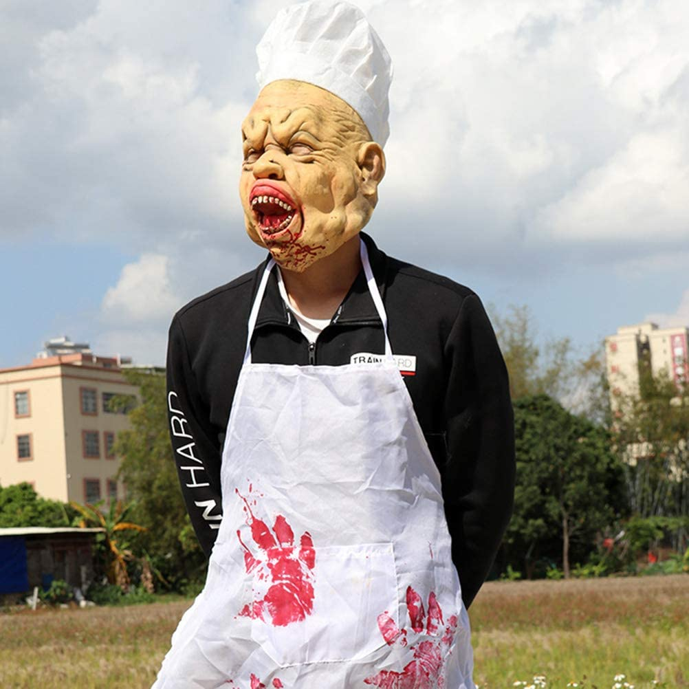 Halloween Scary Chef Costume Cosplay Prank Props Latex Decoration for Halloween Party Decor (Head Cover+ Apron)