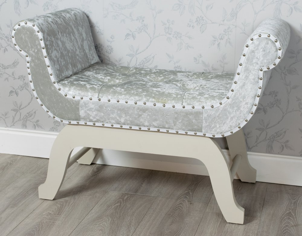 FRENCH STYLE PALE GREY CRUSHED VELVET FABRIC UPHOLSTERED LOVE SEAT CHAIR STOOL WINDOW SEAT (GZ810) **FULL RANGE OF CRUSHED VELVET LOVESEATS, CHAIRS, BENCHES AND TRUNKS ARE AVAILABLE** DOWNTON INTERIORS