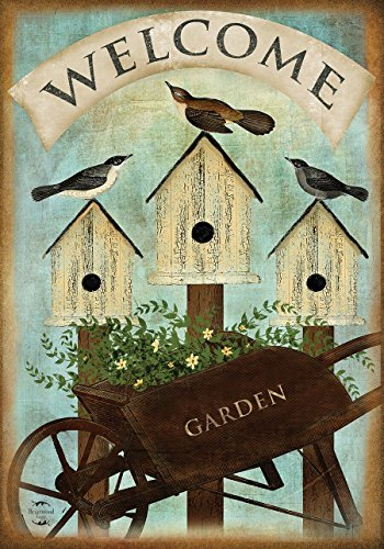 Wheelbarrow Welcome Spring Garden Flag Birdhouses 12.5