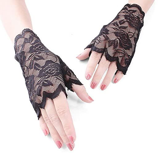 Gofypel Lace Fingerless Gloves Women Lace Gloves Costume Gothic Steampunk  Gloves for Prom Party Driving Wedding ce3ca250f2ae