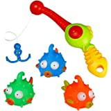 Bath Toys Bathtub Fishing Game with Floating Fish Rod, Bubble Toy for Baby Kids Girls Boys 2 3 4 Years Old Early Education, Random Delivery