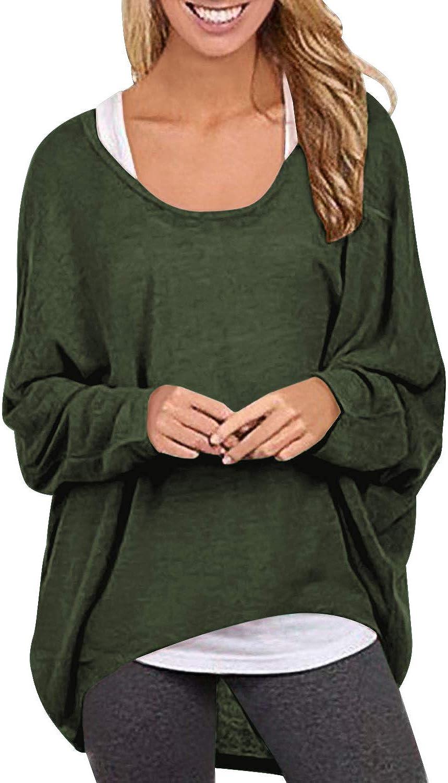 Oberteile Bluse T-Shirt Damen Lose Asymmetrisch Flügelhülse