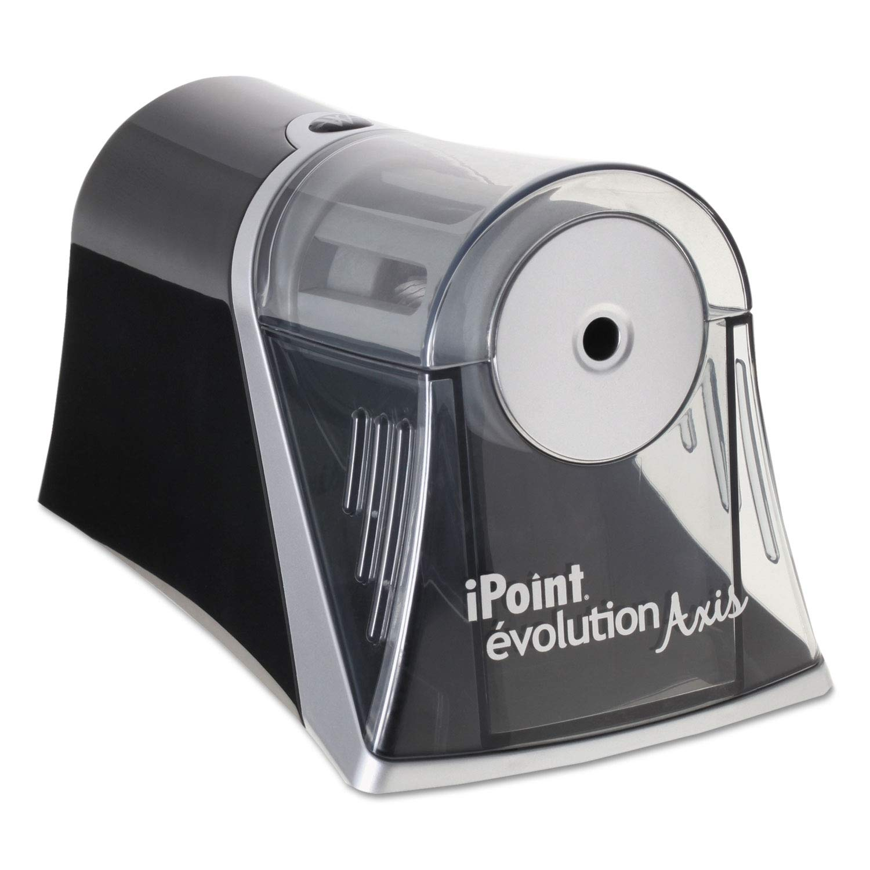 iPoint Evolution Axis Pencil Sharpener, Black/Silver, 4 1/4 w x 7d x 4 3/4h - 15510