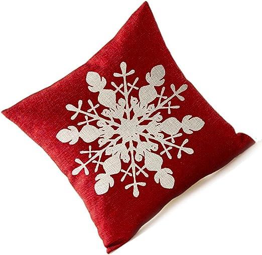 Rouge Beige SODIAL Beau Flocon de Neige en Rouge Joyeux Cadeaux de Lin Lin Taie doreiller Housse de Coussin Bureau /à Domicile Salon Canap/é Voiture Carr/é D/éCoratif 18 X 18 Pouces