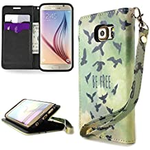 CoverON® for Samsung Galaxy S6 Edge Wallet Case [CarryAll Series] Flip Credit Card Phone Cover Pouch and Wristlet Strap - Be Free Bird