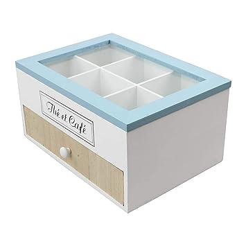 ARTI CASA Café Té Soporte y cápsulas de café cápsula soporte para dispensador de bolsitas de té organizador con 1 cajón, l23.5 X W17 xh12 cm: Amazon.es: ...