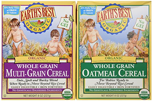 Earth's Best Organic Whole Grain Oatmeal and Multi-grain Cereal (One 8 oz Box of Each) Cereal 8 Oz Box