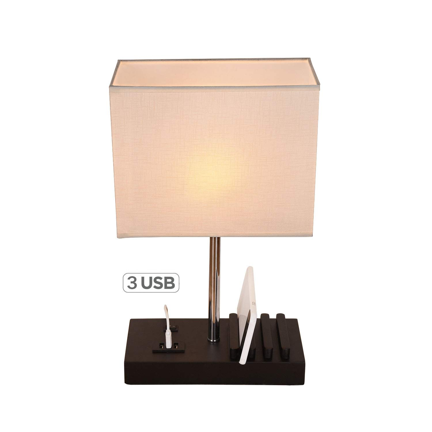 USB Table Lamp,Hhome Plus Multi-Functional Desk Lamp with 3 USB Charging Ports and Phone Charge Dock, Black Wood Charging Station and Organizer, Perfect Light for Bedroom,Guest Room,Living Room,Office