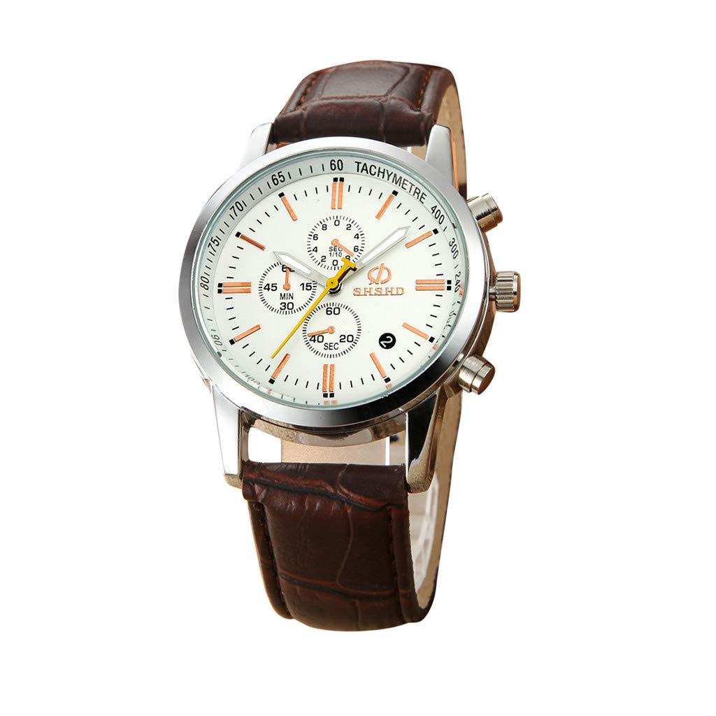 Hotkey Mens Bracelet Watches On Sale Fashion Temperament Three Eye Six Pin Analog Quartz Leather Belt Watch