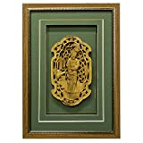 China Furniture Online Wall Decor, Cedar Wood Maiden Motif Carving Shadow Box Green