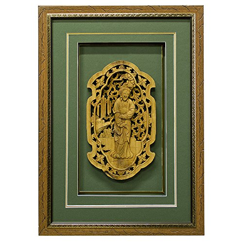 China Furniture Online Wall Decor, Cedar Wood Maiden Motif Carving Shadow Box Green by ChinaFurnitureOnline