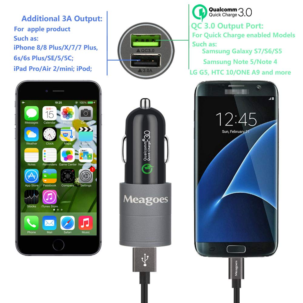 Compatible Moto E5 Play // E5 Plus // E4 Plus // E4 Meagoes Fast Micro USB Car Charger Moto X3 // X Play//X Force//X Style//X Pure//Droid Turbo Motorola Phone 15W Rapid Quick Charge 3.0 Car Power Adapter 4352716066