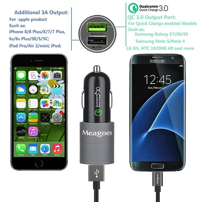 Meagoes Fast Micro USB Car Charger, Compatible Moto E5 Play / E5 Plus / E4 Plus / E4, Moto X3 / X Play/X Force/X Style/X Pure/Droid Turbo Motorola ...