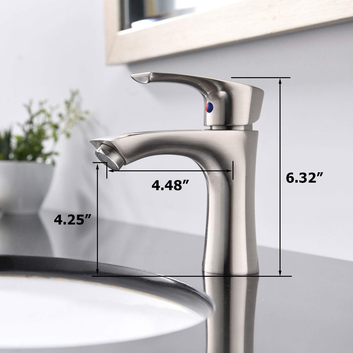 KINGO HOME Commercial Stainless Steel Lavatory Single Handle Single Hole Brushed Nickel Bathroom Faucets, Hot and Cold Water Vanity Sink Faucet by KINGO HOME (Image #2)