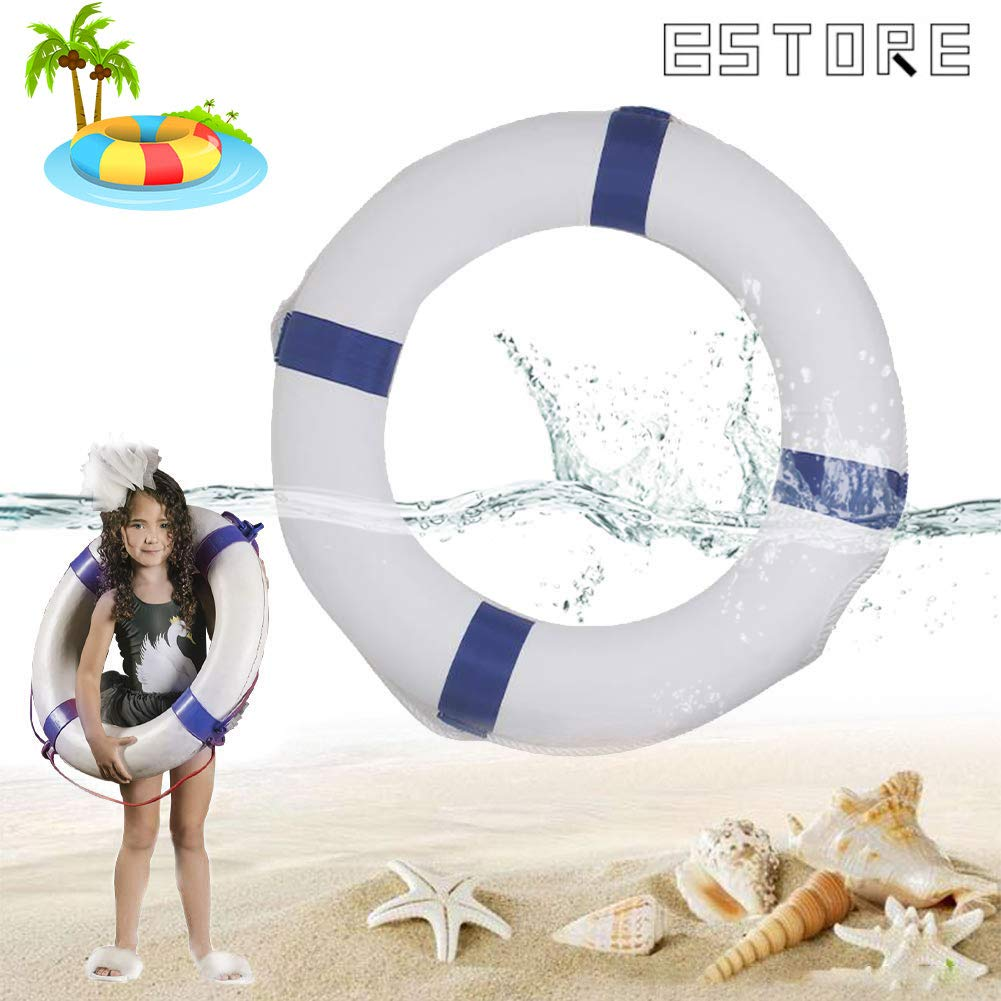BSTORE 52cm/20.5inch Diameter Swim Foam Ring Buoy Children Swimming Pool Safety Life Preserver with Perimeter Rope Blue by BSTORE