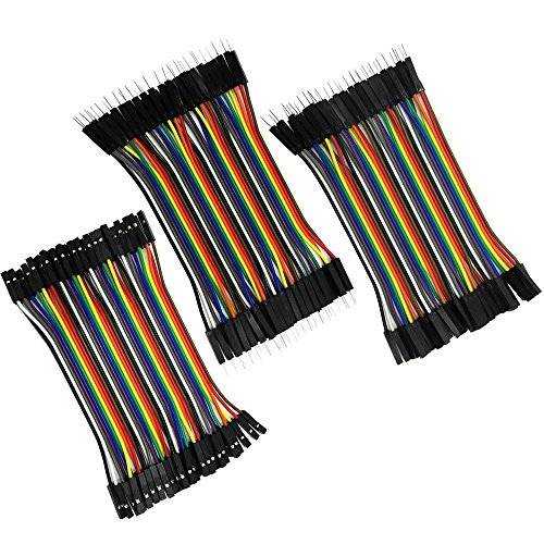 RGBZONE 120pcs 10cm Multicolored Dupont Wire 40pin Male to Female, 40pin Male to Male, 40pin Female to Female Breadboard Jumper Wires Ribbon Cables Kit