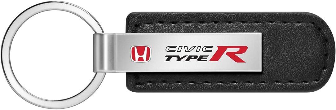 Honda Civic Type R Genuine Black Leather Loop Chrome Round Hook Key Chain iPick Image