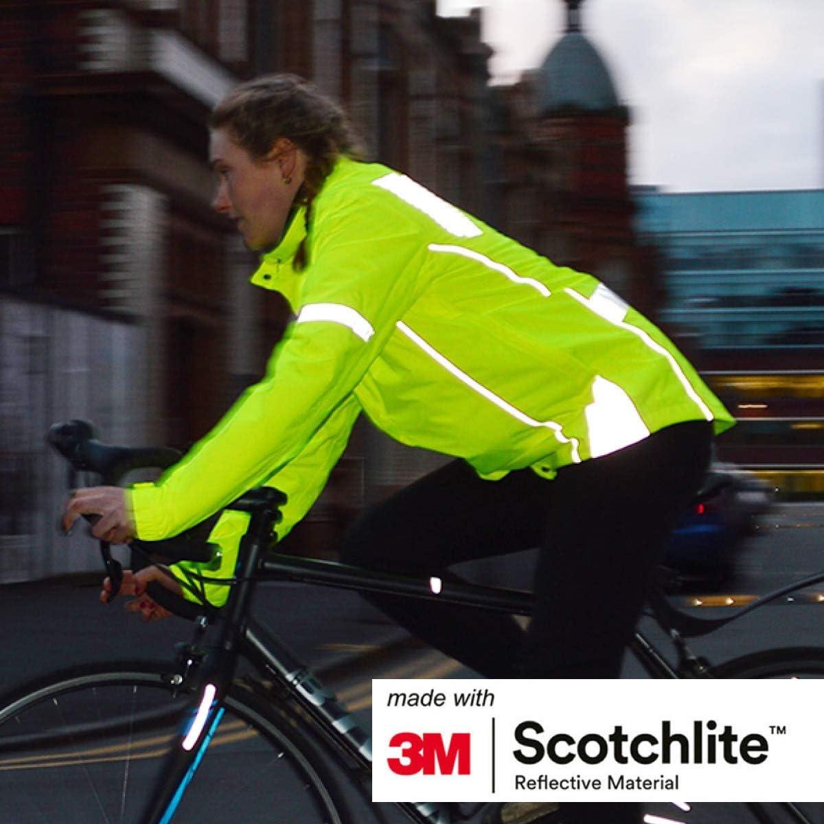 Hergestellt mit 3M Scotchlite atmungsaktiv und reflektierend Salzland 3M Hochsichtbare Fahrradjacke Wetterbest/ändig