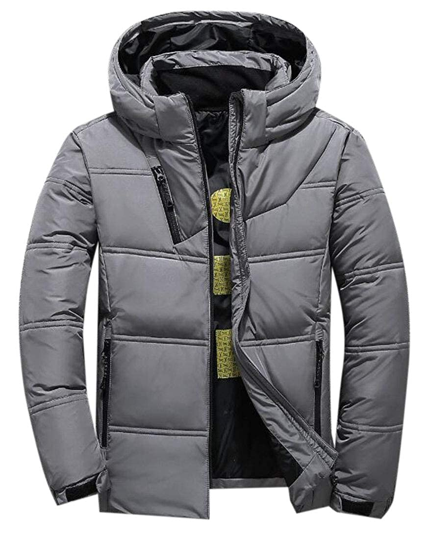 X-Future Mens Thermal Thicken Winter Windbreaker Removable Hooded Solid Down Puffer Jacket