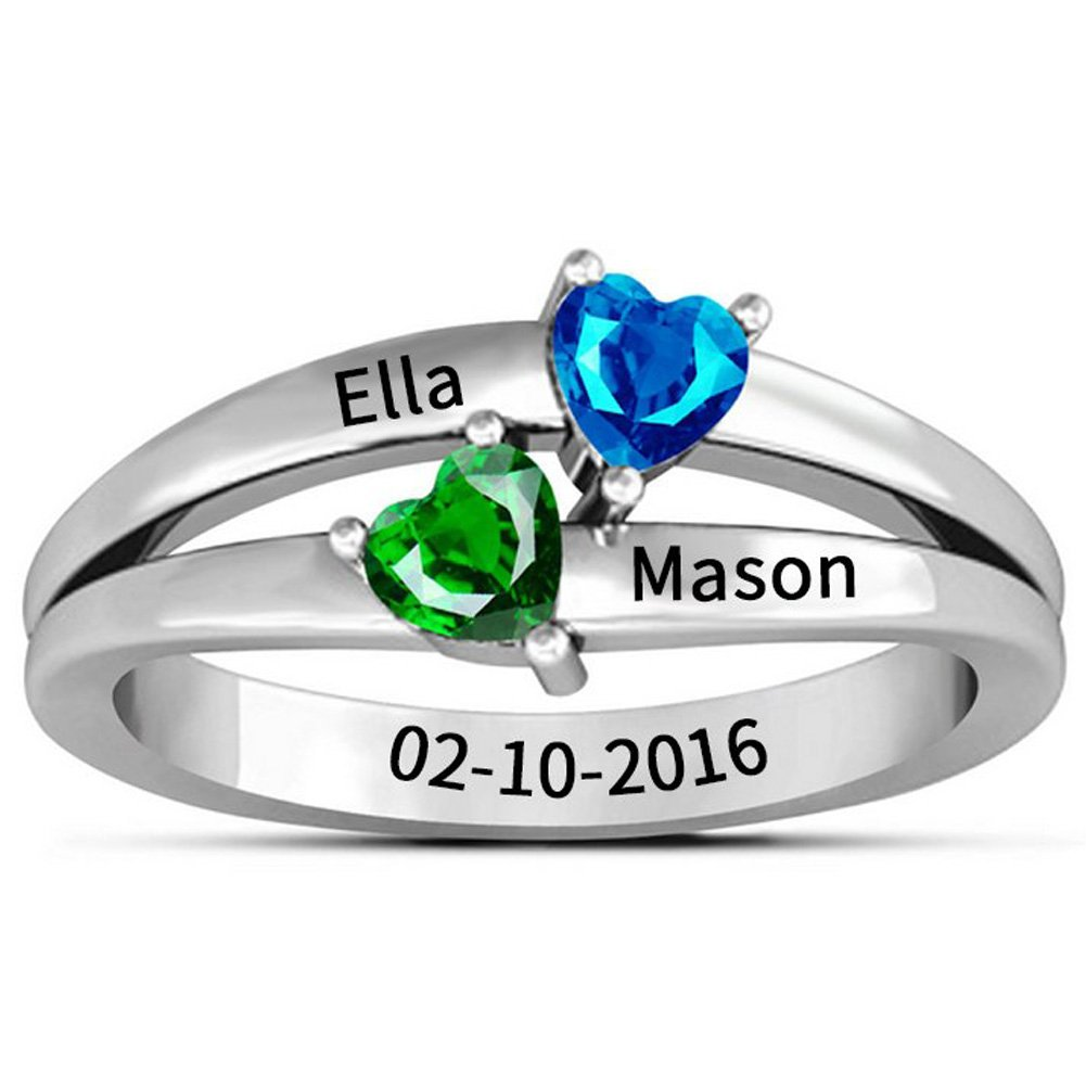 Ouslier 925 Sterling Silver Personalized Birthstone Promise Name Ring Custom Made with Any Names (Style 1)