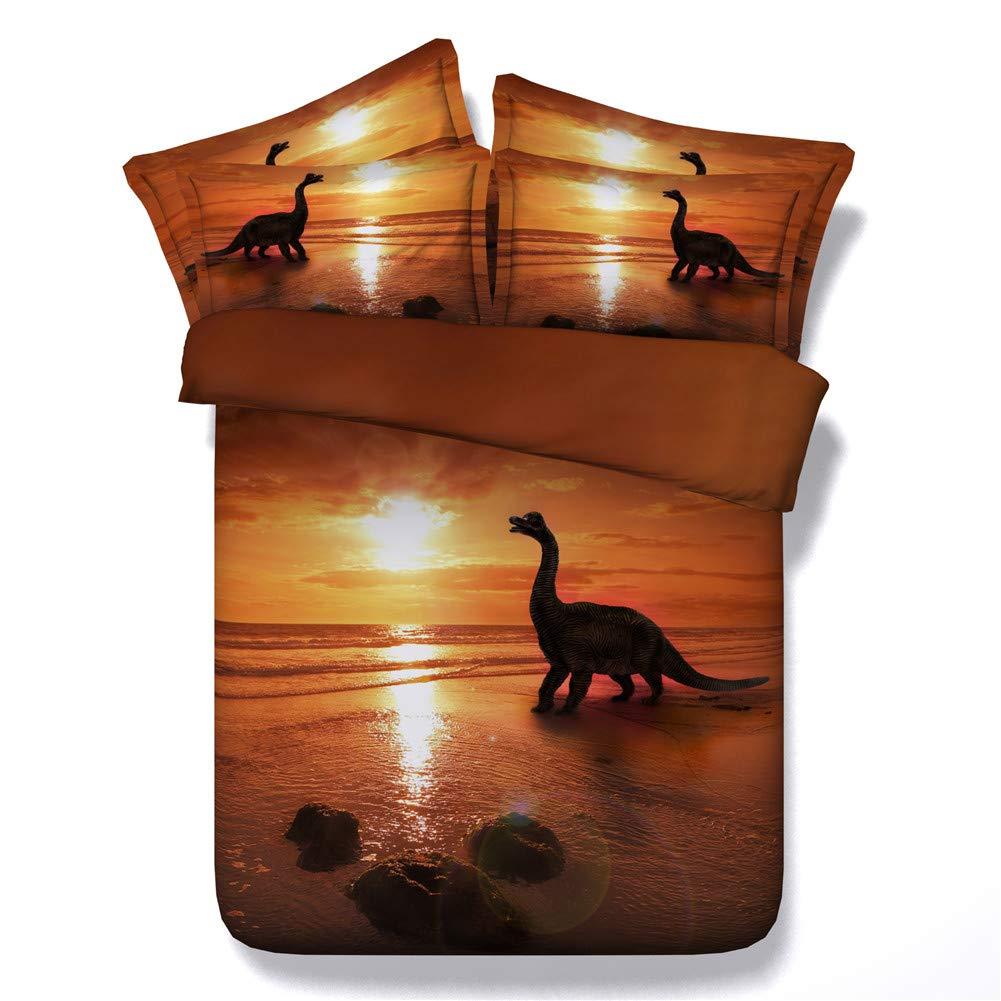 JF-035 Golden Ocean and Lovely Dinosaur Printed Bedding Set Kids Full Queen King Size Sheets = 1 Duvet Cover 2 Shams (Full) Ltd