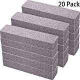 20 Pack Pumice Stones for Cleaning - Pumice Scouring Pad, Grey Pumice Stick Cleaner for Removing Toilet Bowl Ring, Bath, Household, Kitchen, Pool, 5.9 x 1.4 x 0.9 Inch (20 Pack)