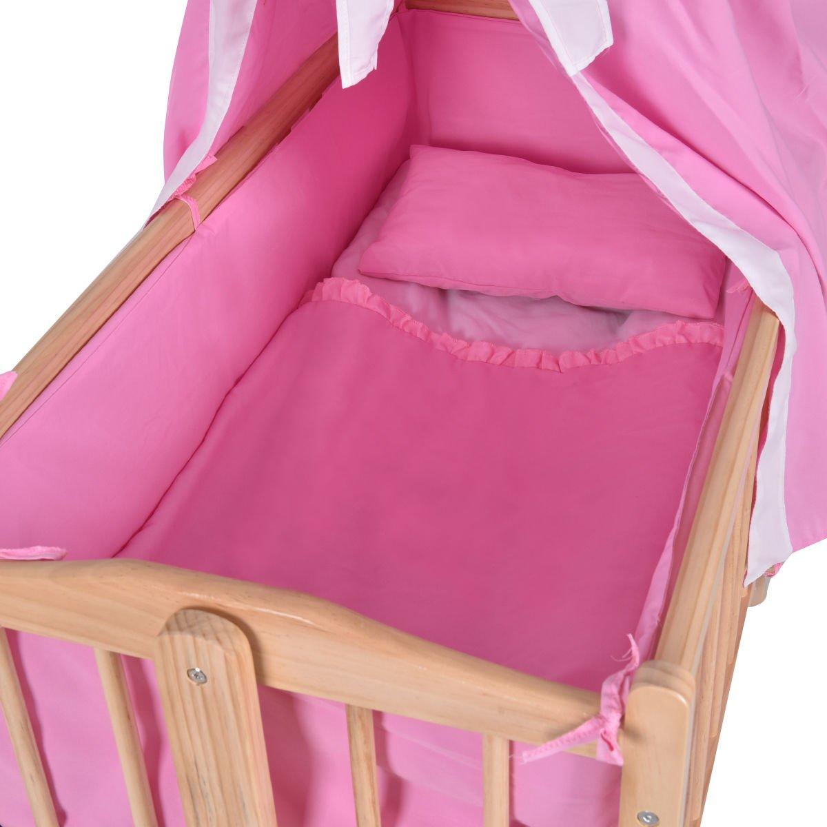 Wood Baby Cradle Rocking Crib Newborn Bassinet Bed Sleeper Portable Nursery Pink by onestops8 (Image #3)