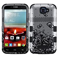 Asmyna TUFF Hybrid Phone Protector Cover for ALCATEL One Touch Fierce II - Retail Packaging - Black Lace Flowers/Silver/Black