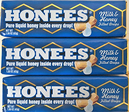 Honees All Natural Milk & Honey Flavor Honey Filled Drops 9 Count Bar (Pack of 3)