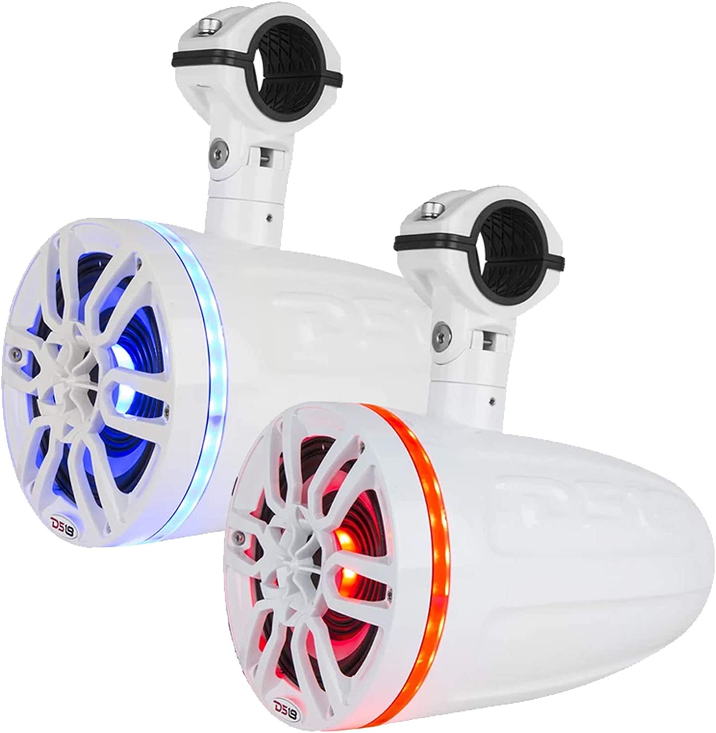 8 Wakeboard Tower Pod Marine Weatherproof Speakers with RGB Multicolor LED White 2 Pairs 5-Channel Marine 1600 Watts Amplifier