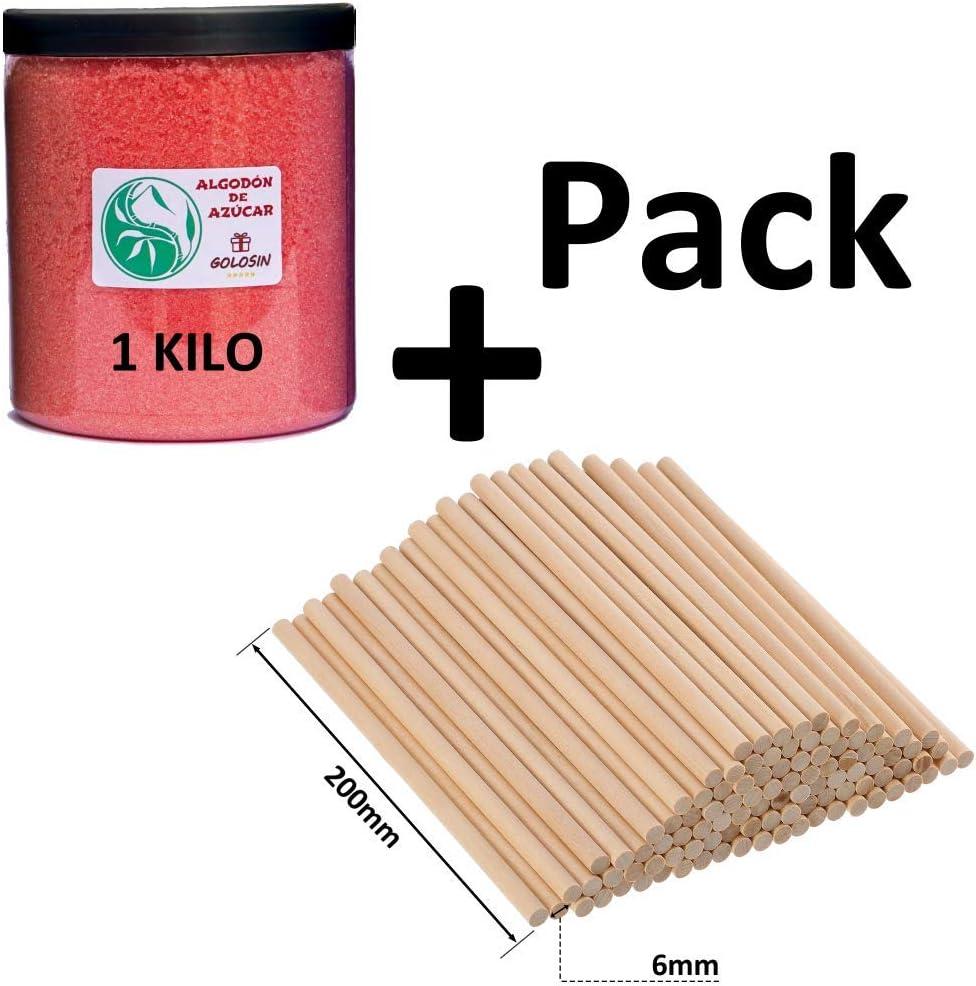 Algodón Nubes de Azúcar Fresa 1 Kg. + Pack con 50 palos largos XL ...