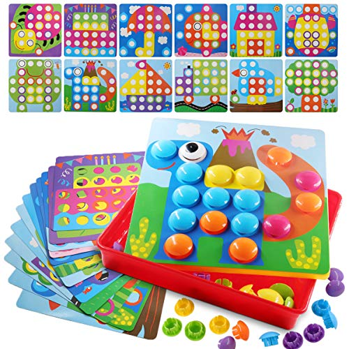 POKONBOY Button Art Color Matching Mosaic Pegboard Puzzle Games Early Learning Educational Toys for Boys and Girls by POKONBOY