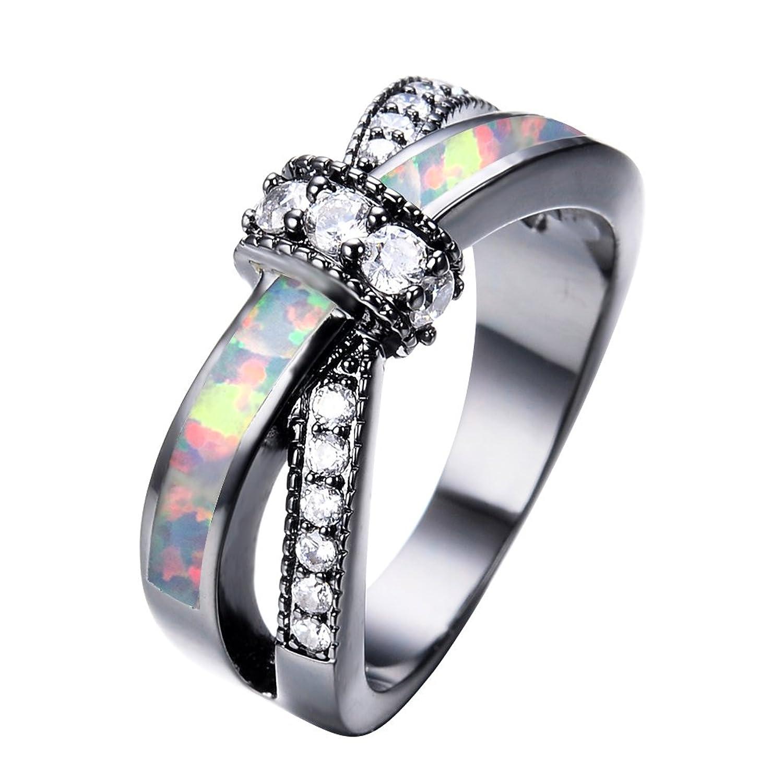 Amazoncom Adeser Jewelry Womens Lab White Opal Black Gold Plated