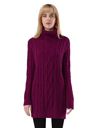 ninovino Women s Long Sleeves Cable Knit Turtleneck Long Sweater Red-S 891551711