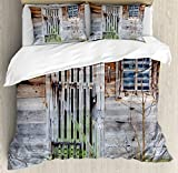 Primitive Country Decor Duvet Cover Set King Size by Ambesonne, Neglected Old Farmhouse Rustic Wooden Door and Window Rural, Decorative 3 Piece Bedding Set with 2 Pillow Shams, Brown Green Silver
