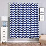 Efavormart 2 Panels White/Royal Blue Polyester Chevron Design Thermal Insulated Blackout Room Darkening Grommet Top Curtain 52″x84″ For Sale
