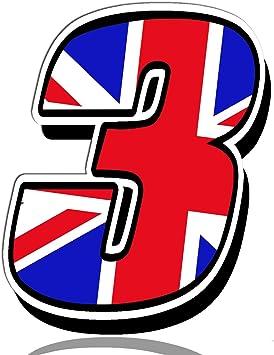 Biomar Labs® Número 3 Bandera Nacional de Gran Bretaña Reino Unido UK Calavera Vinilo Adhesivo Pegatina Coche Auto Motocross Moto Sport Start Racing Tuning N 293: Amazon.es: Coche y moto
