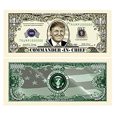 American Art Classics Pack of 50 - Donald Trump Commander in Chief Presidential Limited Edition Million Dollar Bill: Toys & Games