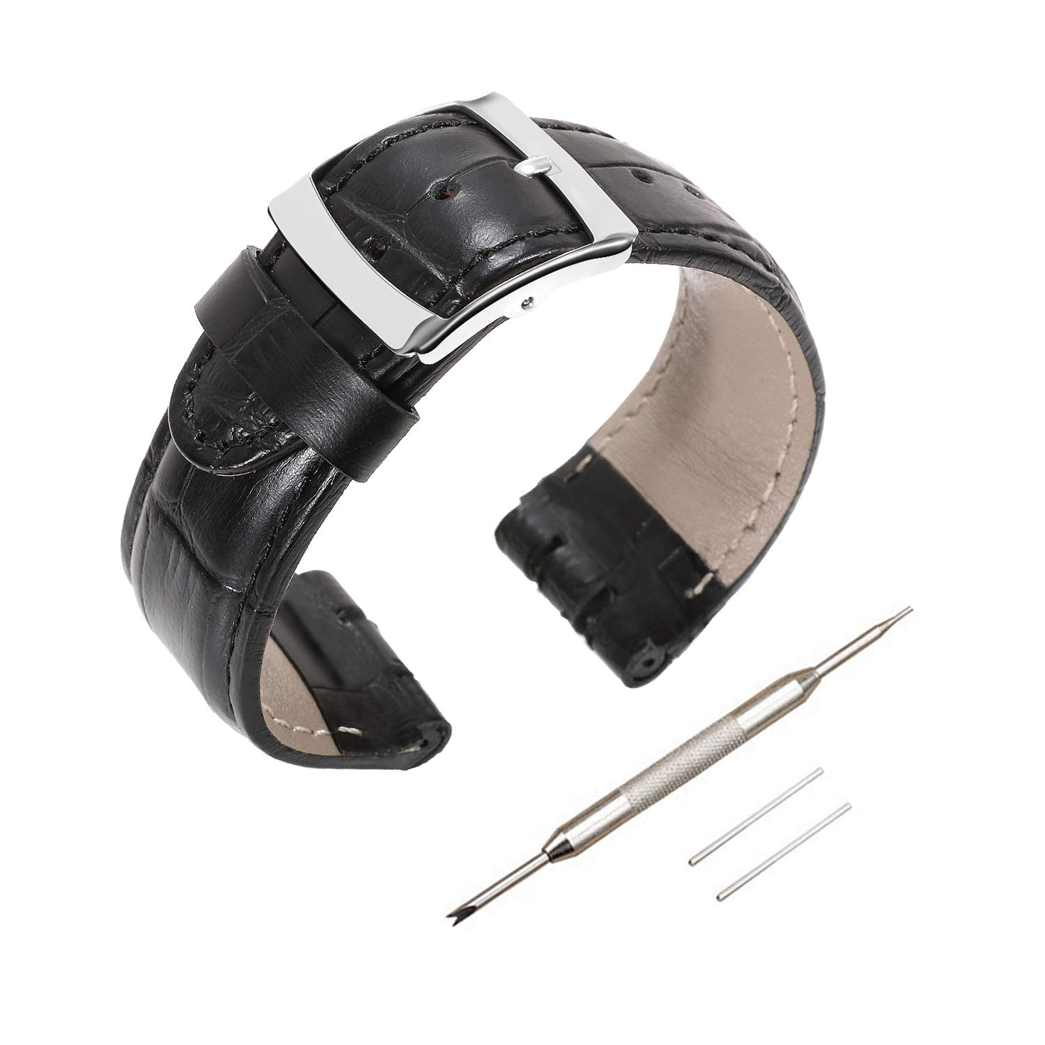 Genuine Leather Watch Strap Watch Band for Swatch, Accessories with Tool, Spring Bar Removal Tool, Full Calf Grain Skin Strip with Sliver Buckle