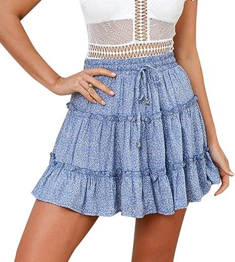 HEHEAB Falda,Azul Verano Casual Cintura Alta Femme Faldas Mujer ...