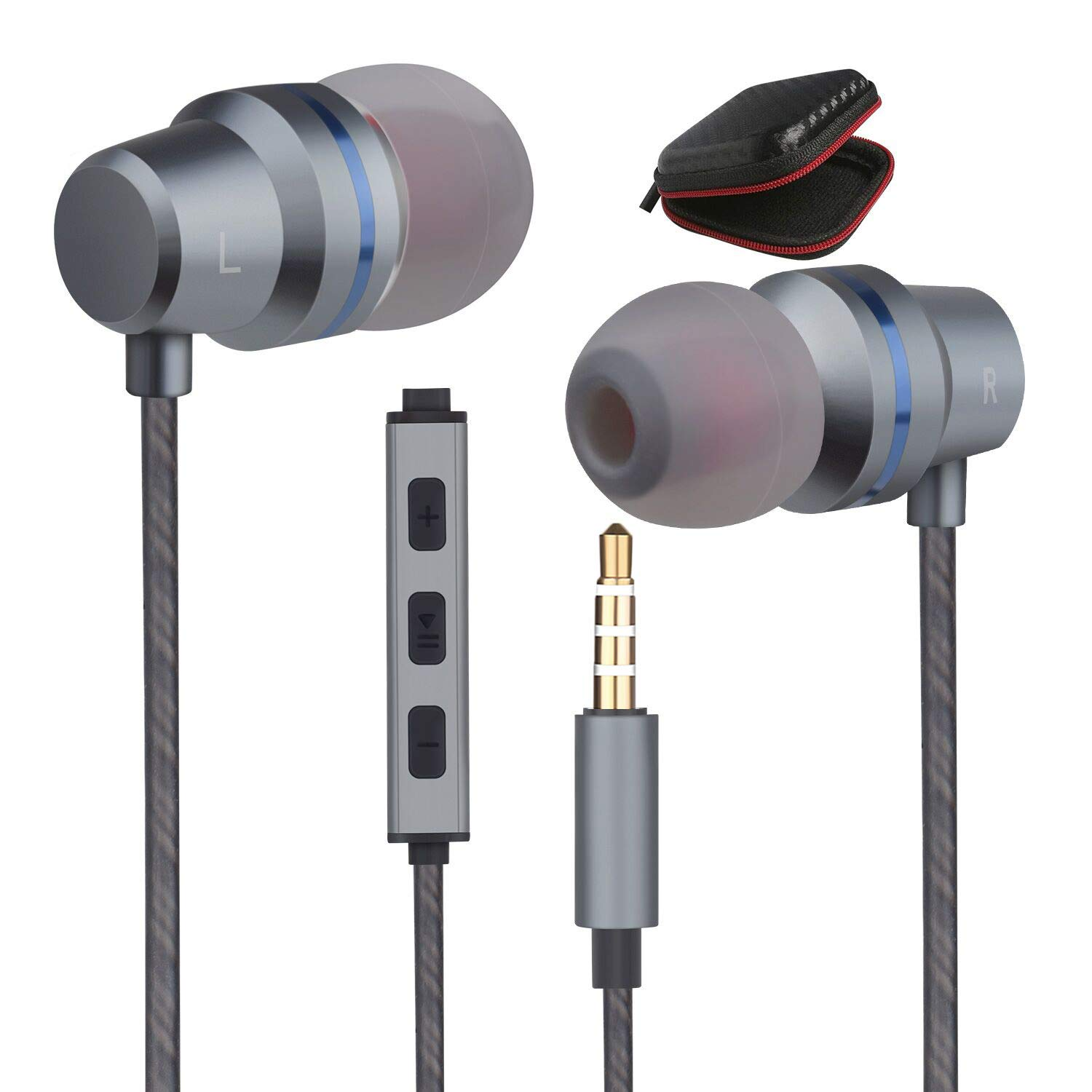 Earbuds Wired Headphones Microphone in Ear Earphones Stereo Mic Ear Buds Volume Control Music Headsets Compatible Android Smart Phones iPhone iPad Samsung Noise Cancelling 3.5mm Devices Headphones