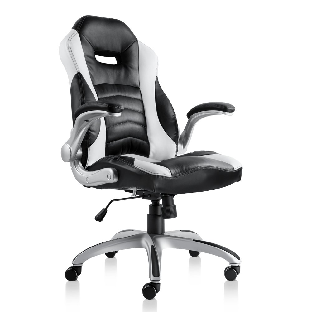 Bonum Gaming Chair Racing Style High-Back PU Leather Office Chair with Backrest Seat and Armrest Computer PC Chair with Adjustable Height Ergonomic and Sturdy Design (Black)