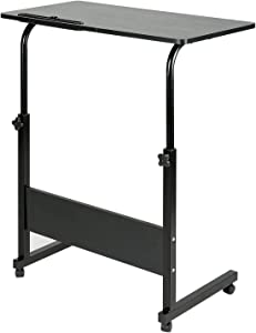DOEWORKS Side Table, Adjustable Laptop Stand Portable Cart Tray Side Table, Black Studying Desk