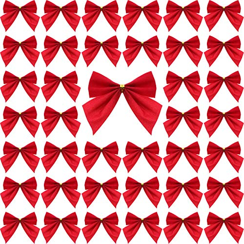 Sumind 72 Pack Mini Christmas Tree Bows 6 cm Ribbon Bows Ornaments for Christmas Tree Hanging Decoration (Red)