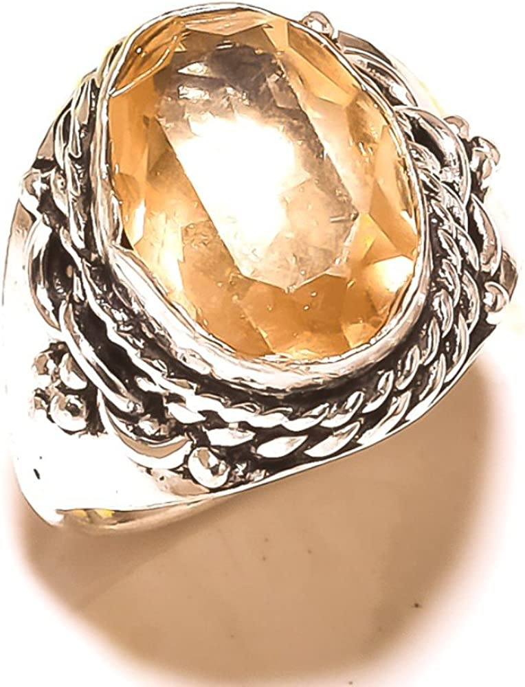 Fantasy Jewelry Yellow Champagne Quartz Sterling Silver Overlay 8 Grams Ring Size 8 US