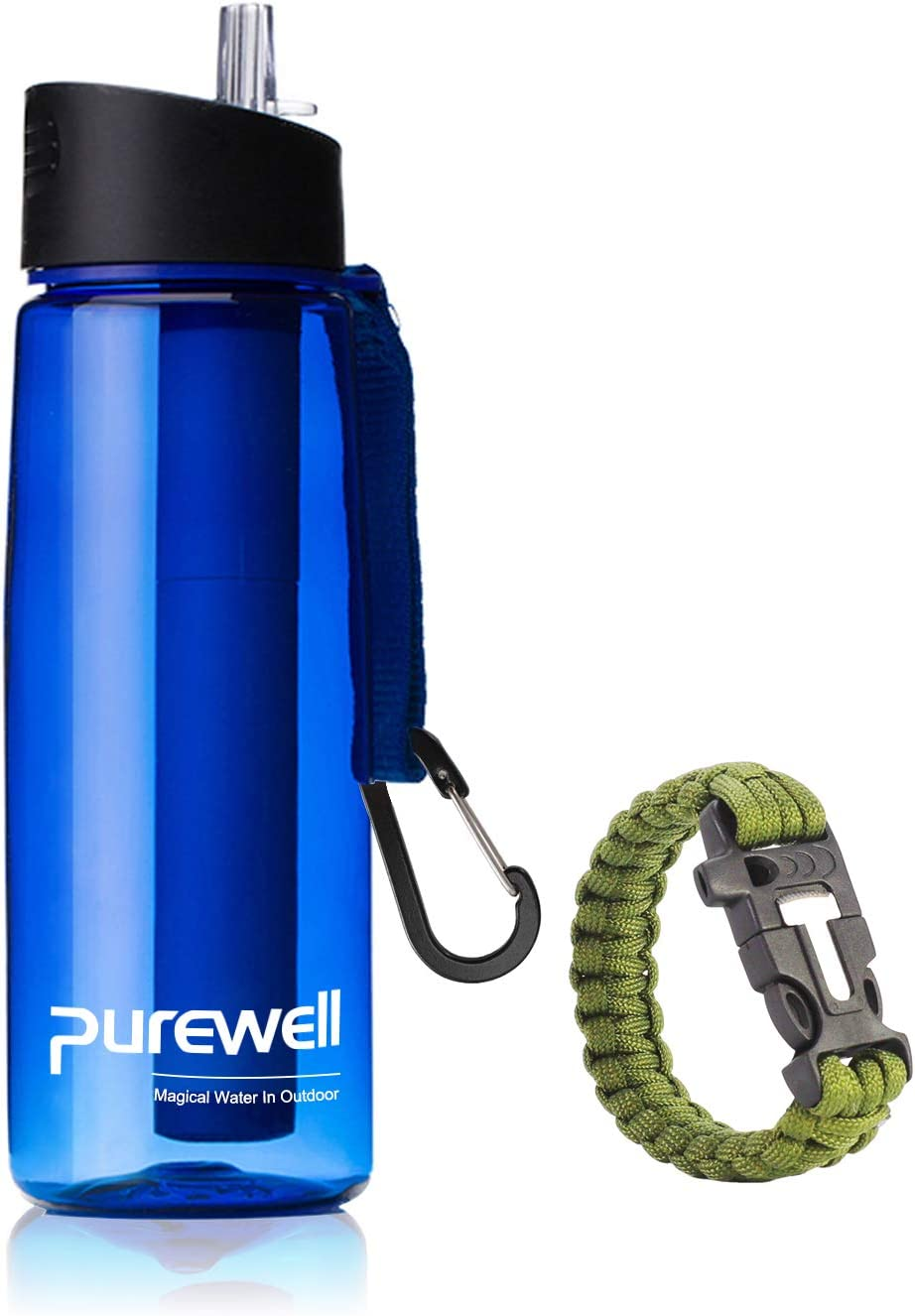 Purewell Filter Water Bottle BPA Free with 4-Stage Intergrated Filter Straw for Camping, Hiking, Backpacking and Travel