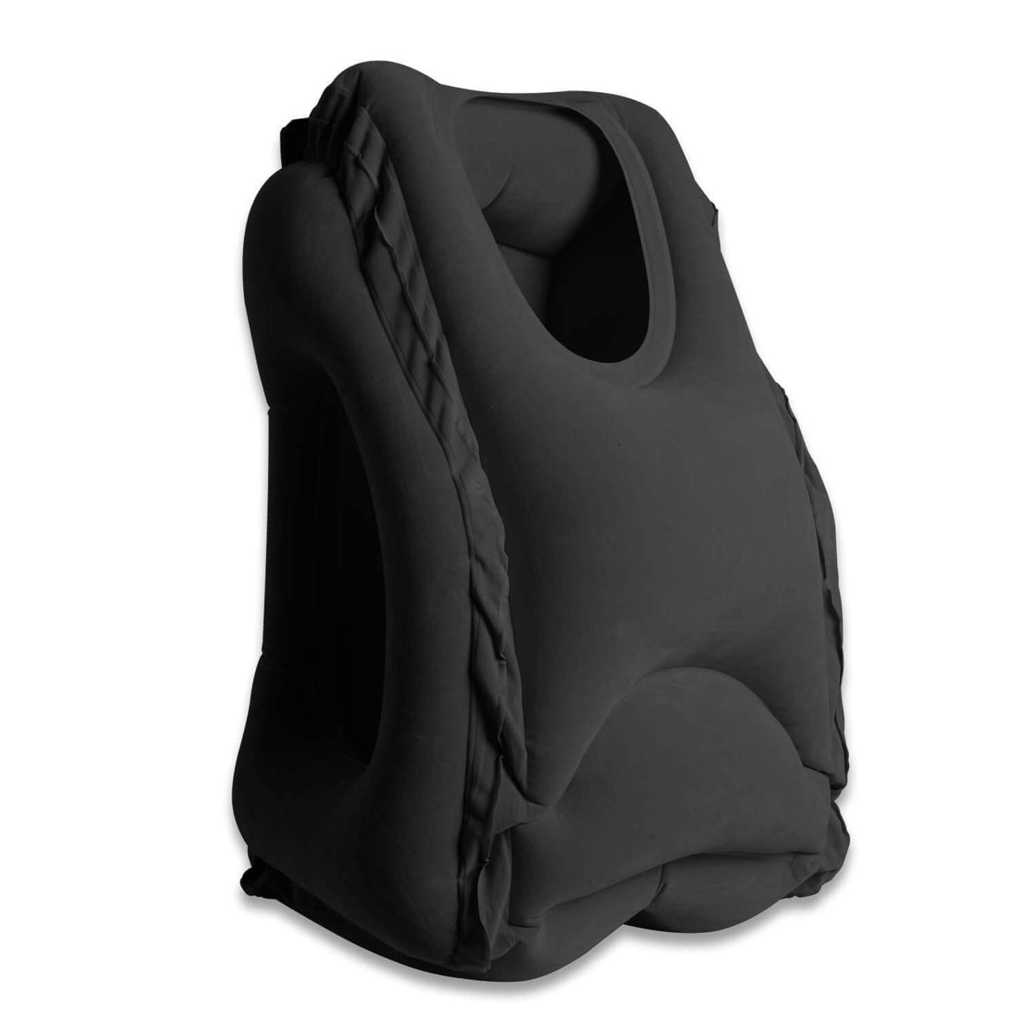 Inflatable Travel Pillow, WOWGO Airplane Neck Pillow Comfortable Pillows with Arms for Outdoor Travelling Camping, Air Planes, Trains, Cars, Buses and Indoor Office Napping [Updated Version] (Black)