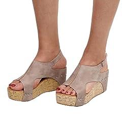 4c6f6252ac5fb3 FORUU Women Summer Round Toe Breathable Rivet Beach Sandals Boho Casual  Wedges - Casual Women s Shoes